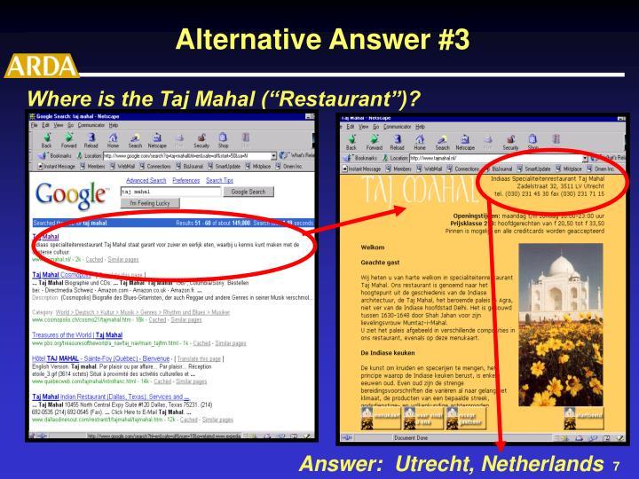 "Where is the Taj Mahal (""Restaurant"")?"