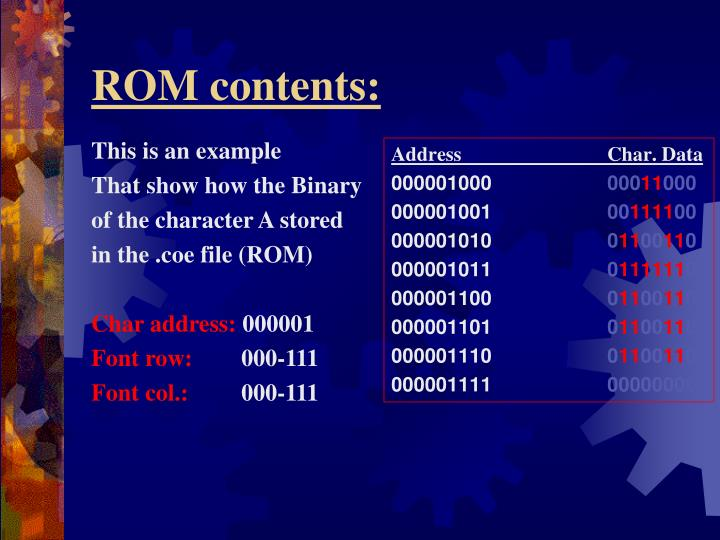 ROM contents: