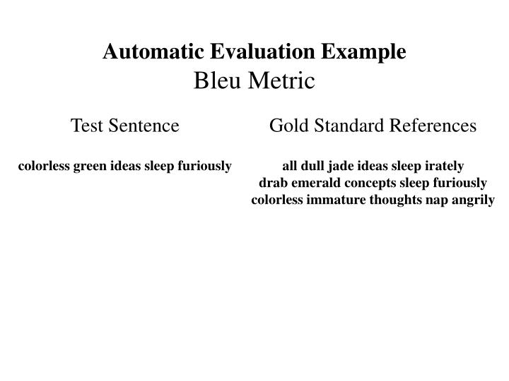 Automatic Evaluation Example