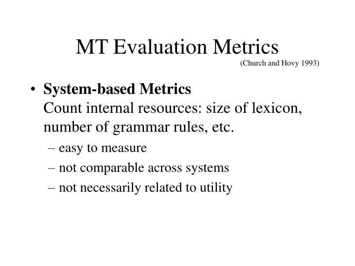 MT Evaluation Metrics