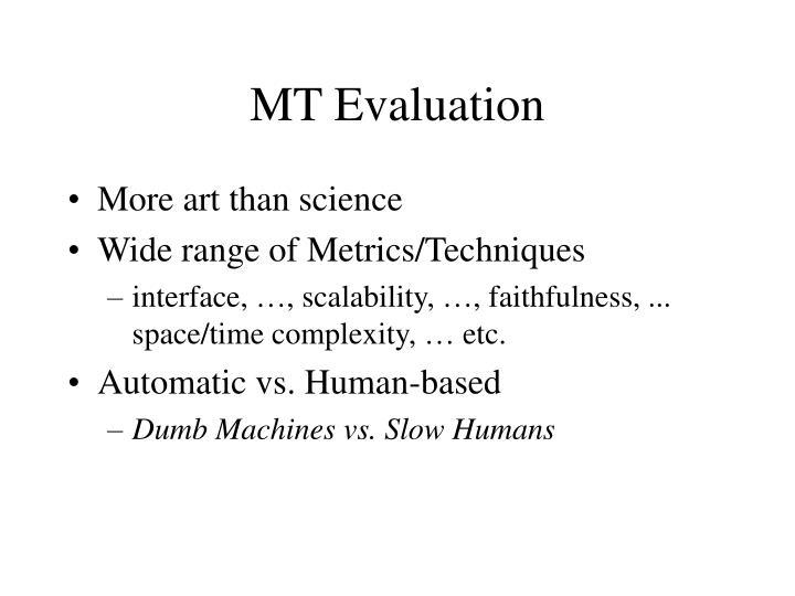 MT Evaluation