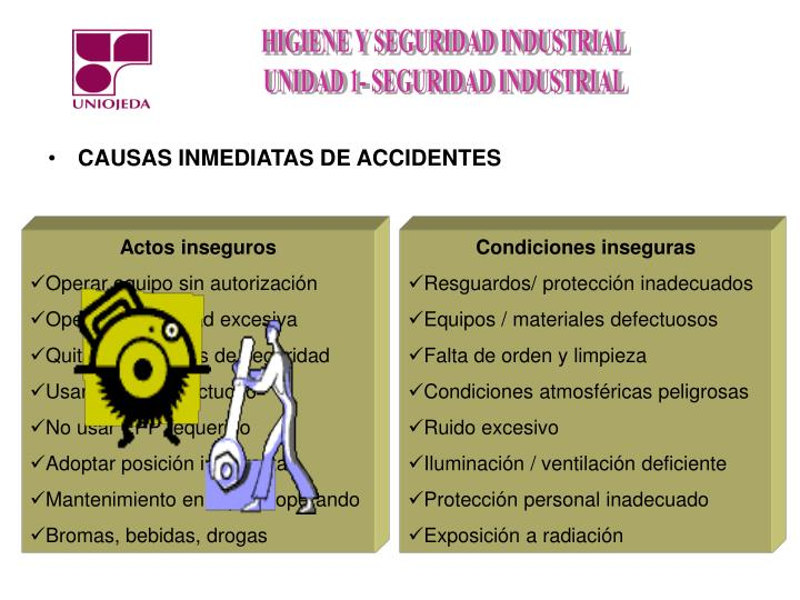 CAUSAS INMEDIATAS DE ACCIDENTES