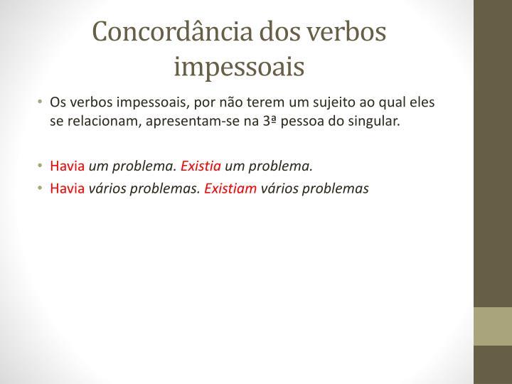 Concordância dos verbos impessoais