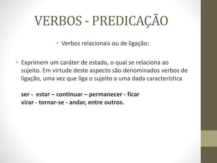VERBOS - PREDICAÇÃO