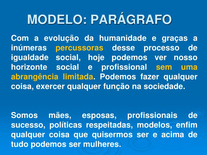 MODELO: PARÁGRAFO