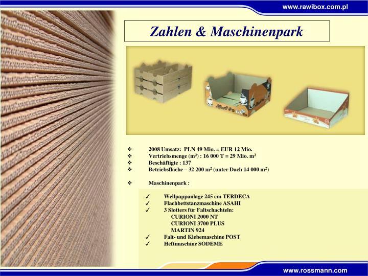 Zahlen & Maschinenpark