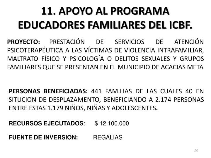 11. APOYO AL PROGRAMA EDUCADORES FAMILIARES DEL ICBF