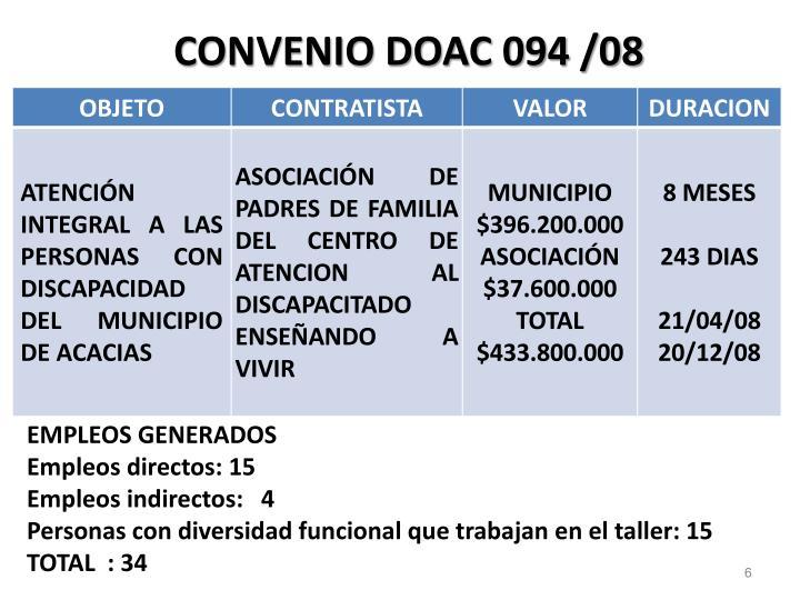 CONVENIO DOAC 094 /08