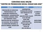 convenio doac 095 08 centro de promocion social hogar san jose