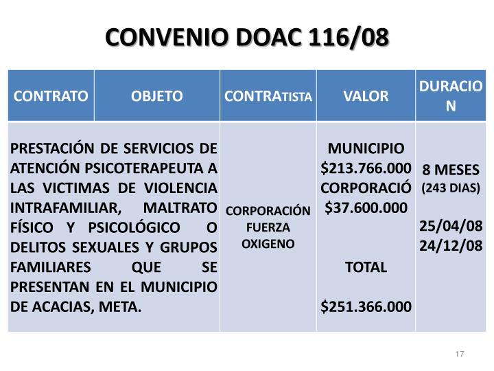 CONVENIO DOAC 116/08