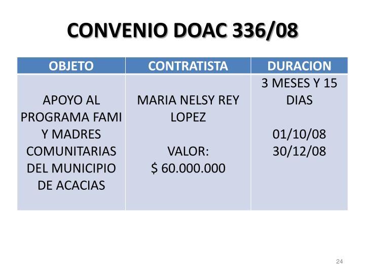 CONVENIO DOAC 336/08