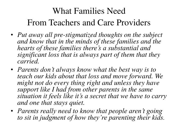 What Families Need