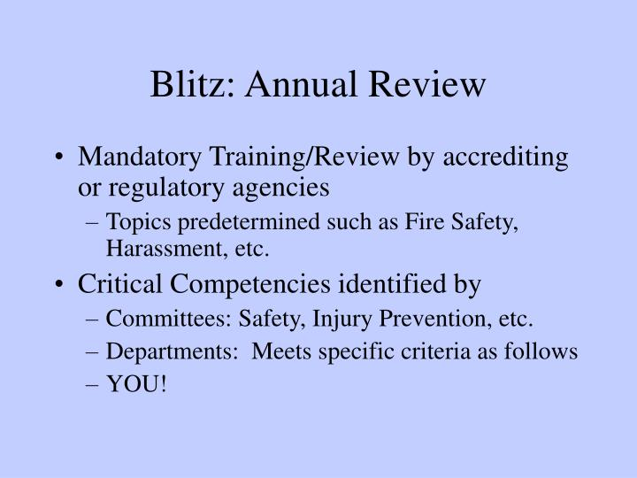 Blitz: Annual Review
