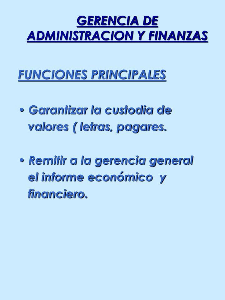 GERENCIA DE ADMINISTRACION Y FINANZAS