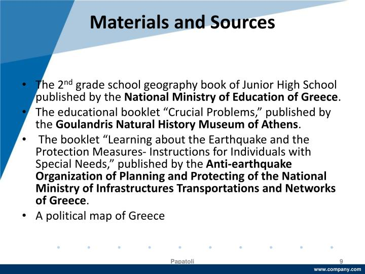 Materials and Sources
