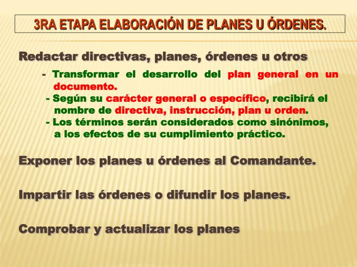 Redactar directivas, planes, órdenes u