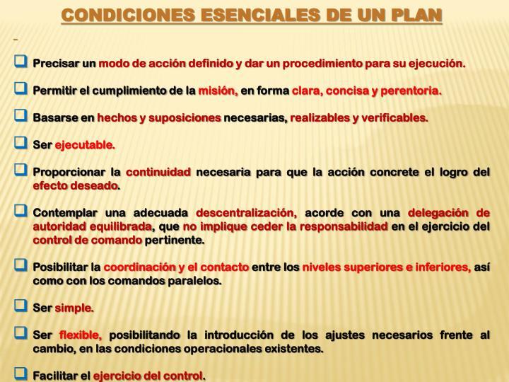 Condiciones esenciales de un plan