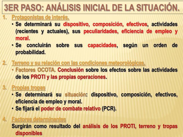 3er Paso: Análisis inicial de la situación.