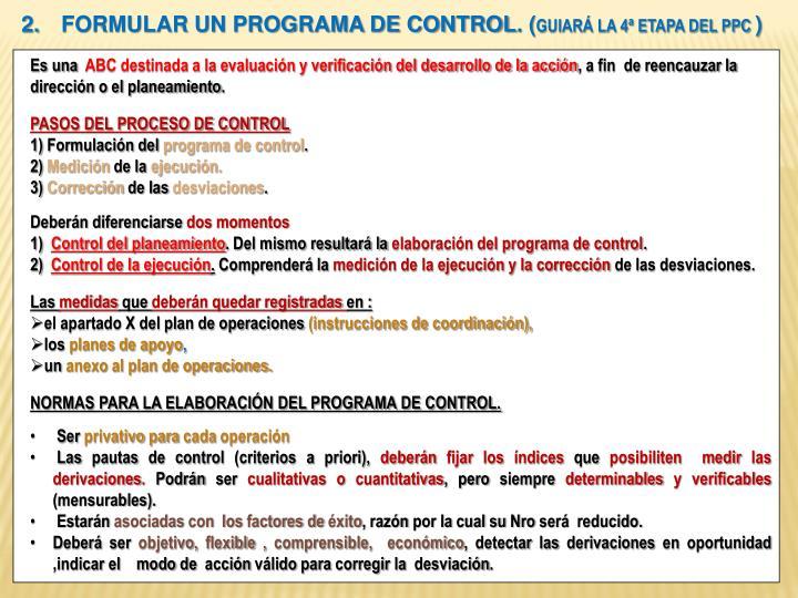 FORMULAR UN PROGRAMA DE CONTROL