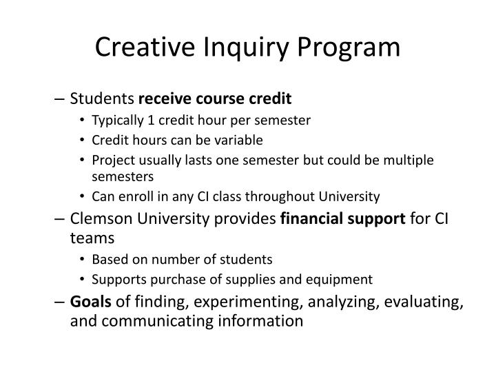 Creative Inquiry Program