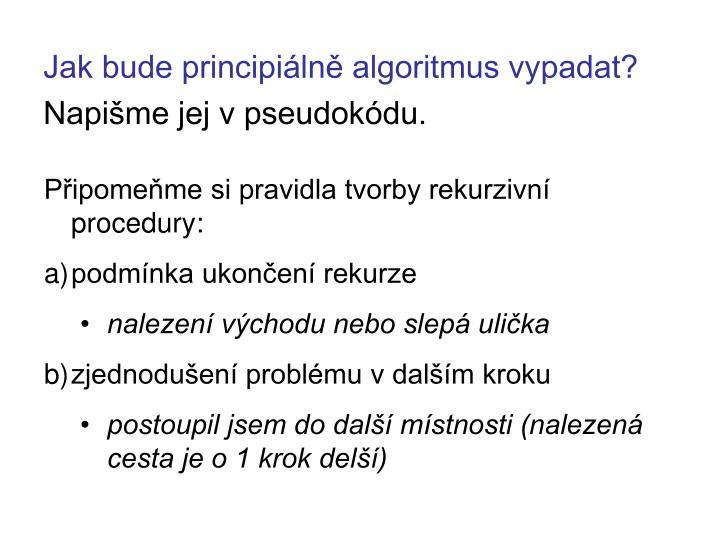 Jak bude principiálně algoritmus vypadat?