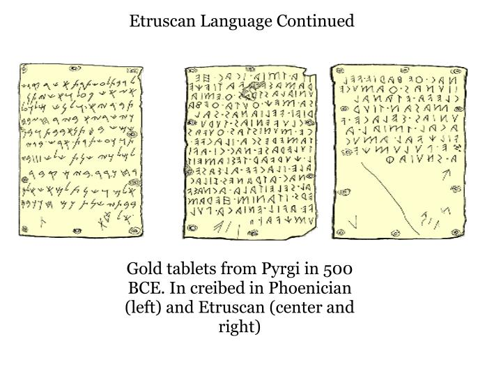 Etruscan Language Continued