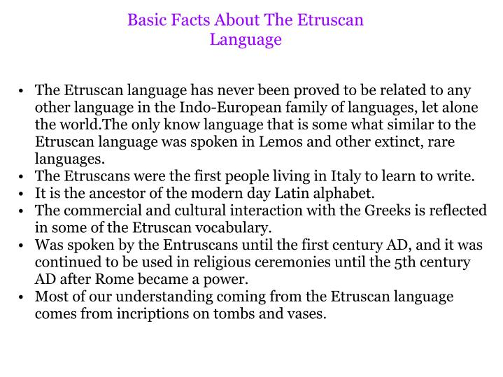 Basic Facts About The Etruscan Language