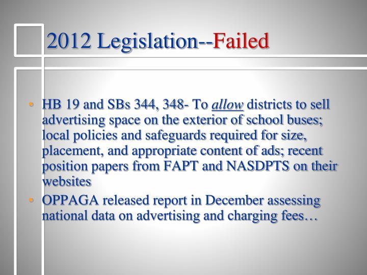 2012 Legislation--