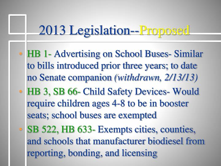 2013 Legislation--