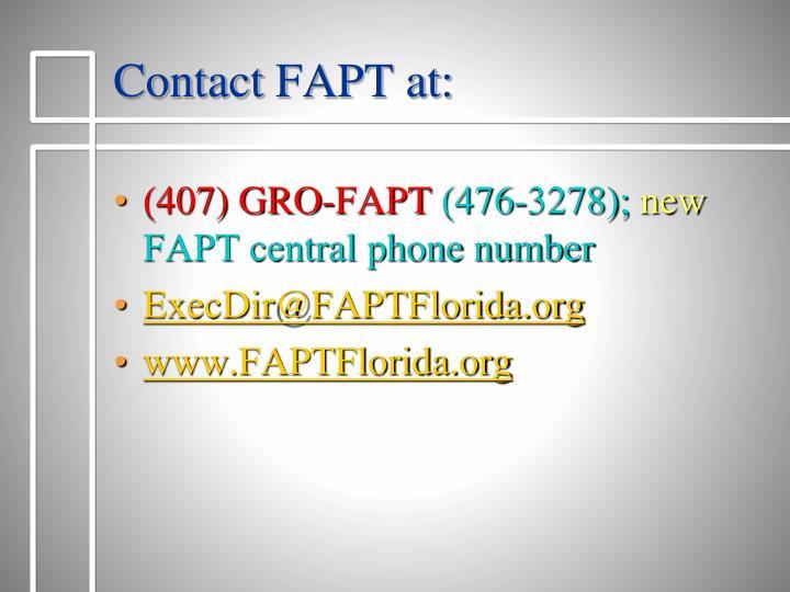 Contact FAPT at: