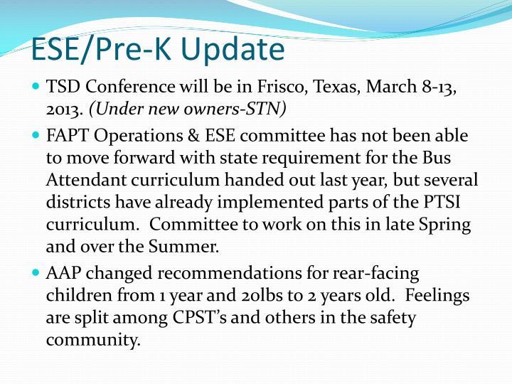 ESE/Pre-K Update