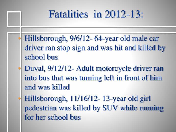 Fatalities  in 2012-13: