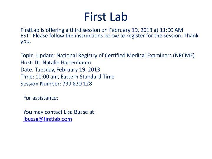 First Lab