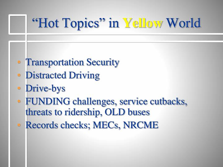 """Hot Topics"" in"