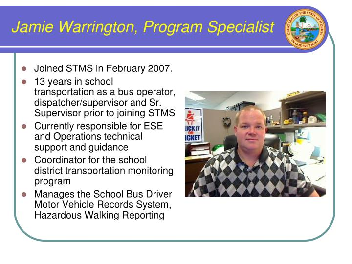 Jamie Warrington, Program Specialist