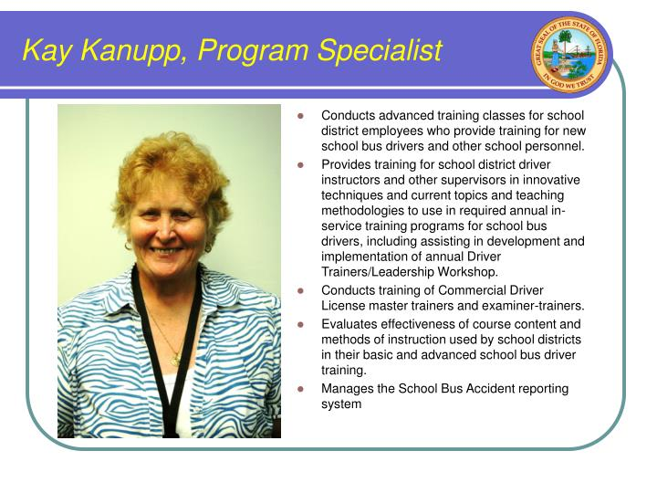 Kay kanupp program specialist