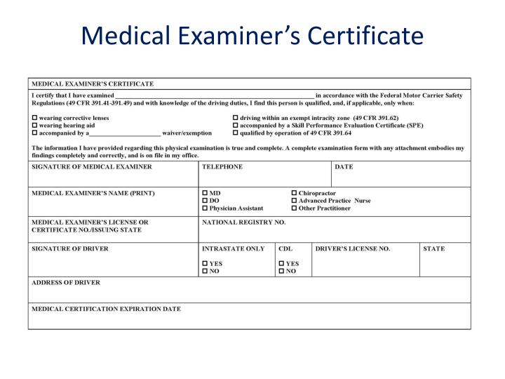 Medical Examiner's Certificate