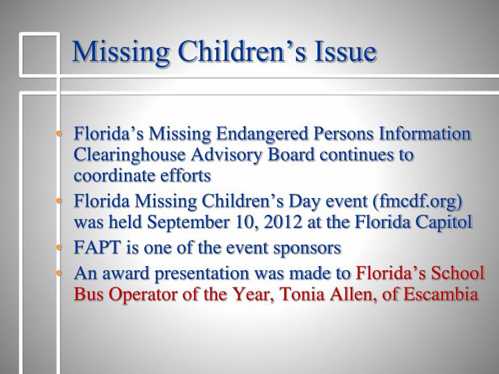 Missing Children's Issue
