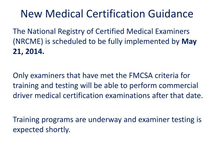 New Medical Certification Guidance