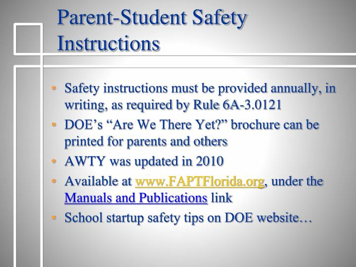 Parent-Student Safety Instructions
