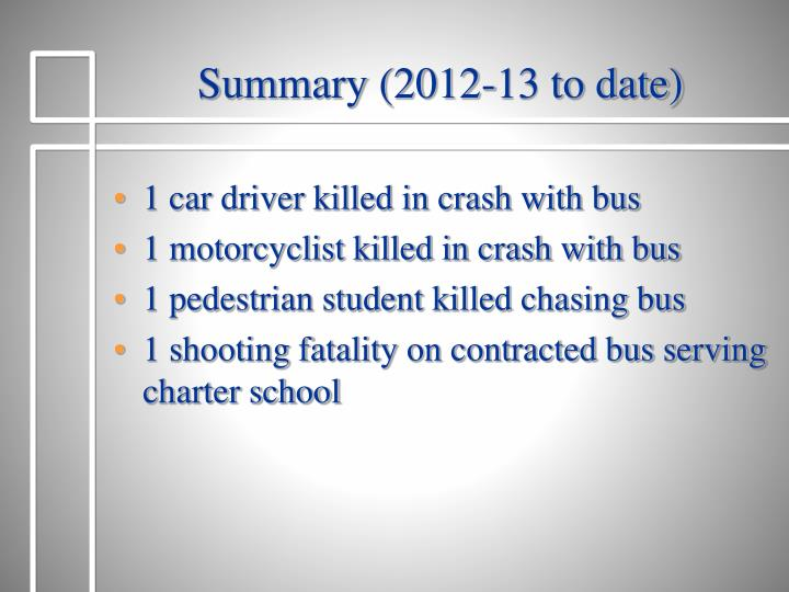 Summary (2012-13 to date)