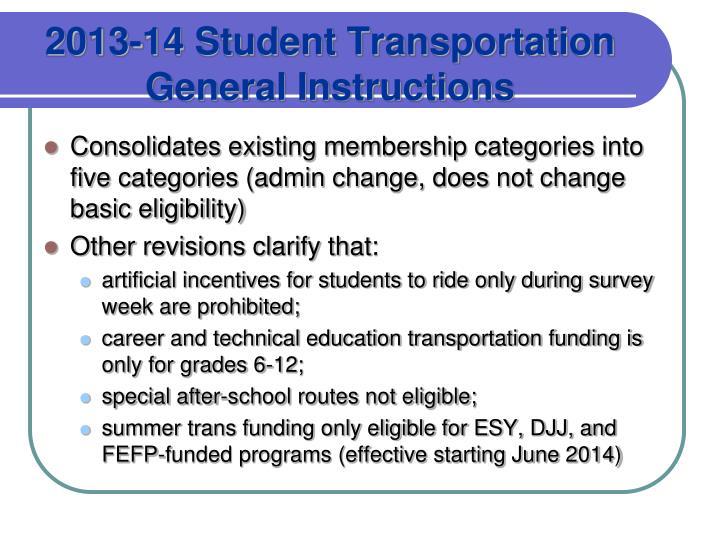2013-14 Student Transportation General Instructions