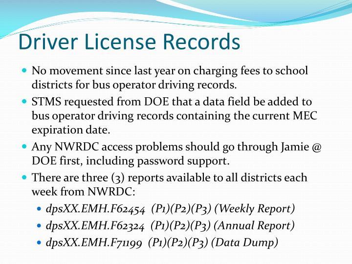 Driver License Records