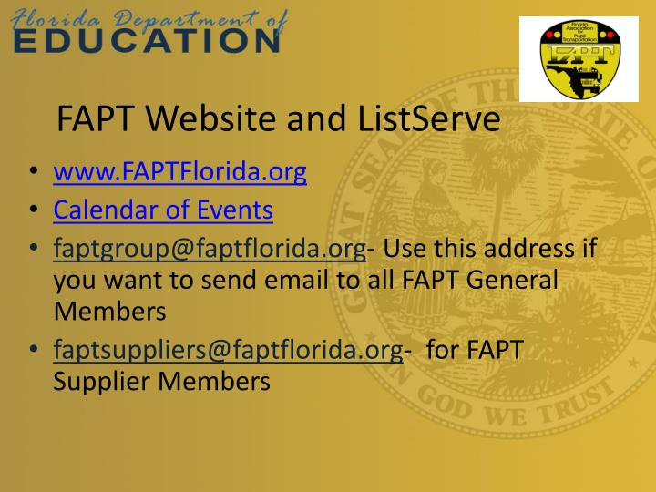 FAPT Website and ListServe