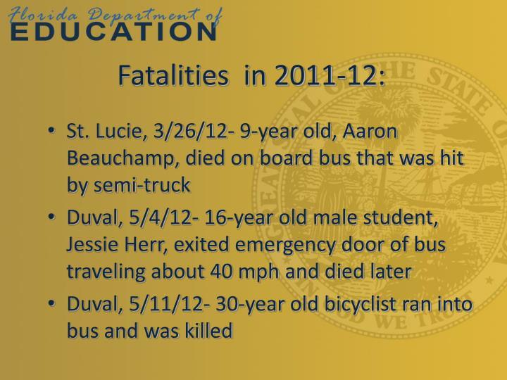 Fatalities  in 2011-12: