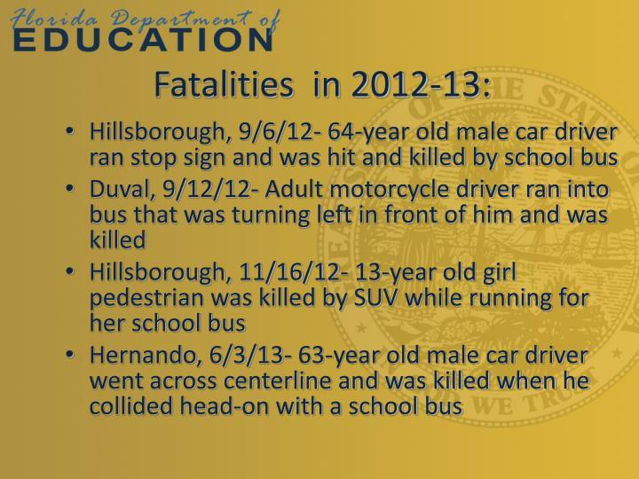 Fatalities  in 2012-13: