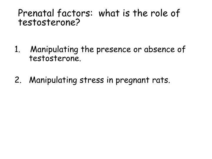 Prenatal factors:  what is the role of testosterone?