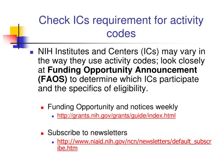 Check ICs requirement for activity codes