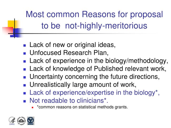Most common Reasons for proposal to be  not-highly-meritorious