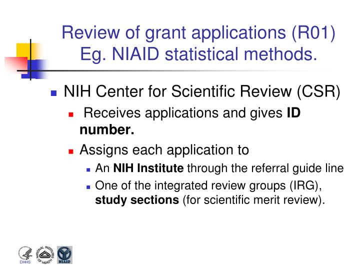 Review of grant applications (R01)